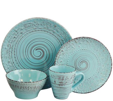 Elama Malibu Waves 16-Piece Dinnerware Set - Turquoise  sc 1 st  QVC.com & Elama Malibu Waves 16-Piece Dinnerware Set - Turquoise \u2014 QVC.com