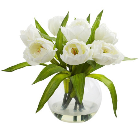Tulips Arrangement with Vase by Nearly Natural