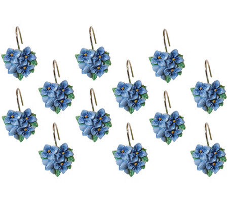 Lenox Blue Floral Garden Set of 12 Shower Hooks