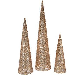 christmas valerie parr hill set of 3 sequined glittered graduated cone trees h209590