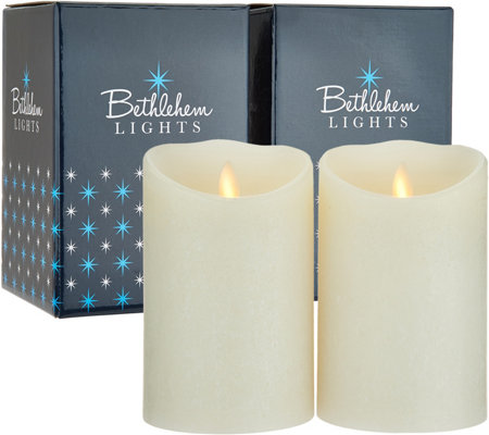 "Bethlehem Lights Touch Candle Set of (2) 5"" Candles in Gift Boxes"