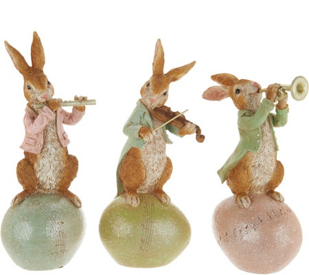 3pc Bunny Musicians on Eggs by Valerie