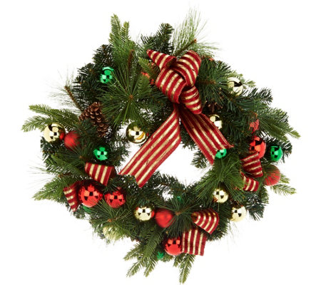 """As Is"" 23"" Ornament, Ribbon & Pine Decorative Wreath"