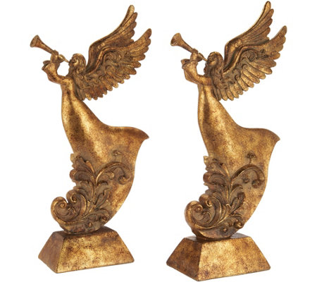 """As Is"" Set of 2 Antiqued Trumpeting Angels by Valerie"
