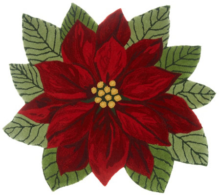 Nourison 3' x 3' Hand-Tufted Poinsettia Accent Rug