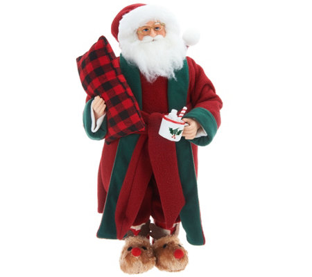 Choice of Plush Santa or Mrs. Claus with Slippers by Valerie
