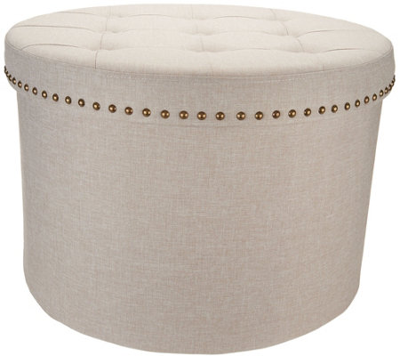 "Inspire Me! Home Decor 24"" Round Tufted Storage Ottoman"