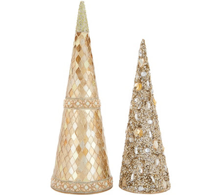 "Dennis Basso Set of 2 Jeweled Trees 15"" and 12"""