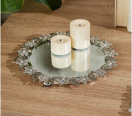 "8"" Mirrored Tray with Floral Jeweled Trim by Valerie"