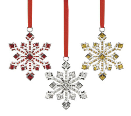 Reed & Barton Set of 3 Jewel-Accented SnowflakeOrnaments