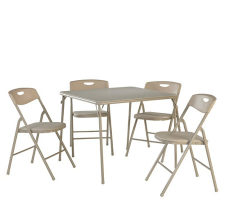 Cosco Folding Table And Chair 5 Piece Set Qvc Com