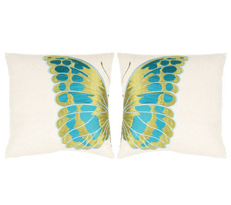 "Set of 2 18"" x 18"" Indra Blue Wing Pillows fromSafavieh"