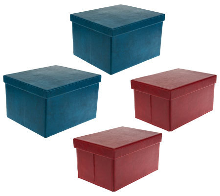 Set Of 2 Collapsible Faux Leather Storage Boxes By Valerie