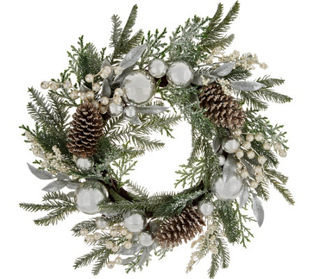 "24"" Ornament, Berry, and Pinecone Wreath by Valerie"