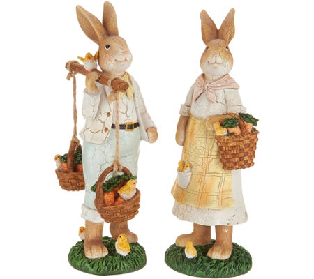 Set of (2) Bunny Figurines with Vintage Crackle Finish by Valerie