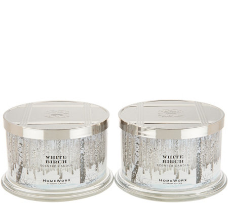 HomeWorx by Harry Slatkin Set of 2 White Birch 4-Wick Candles