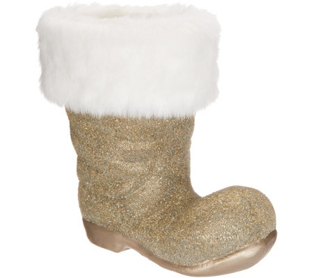 Dennis Basso Beaded Santa Boot with Faux Fur Trim