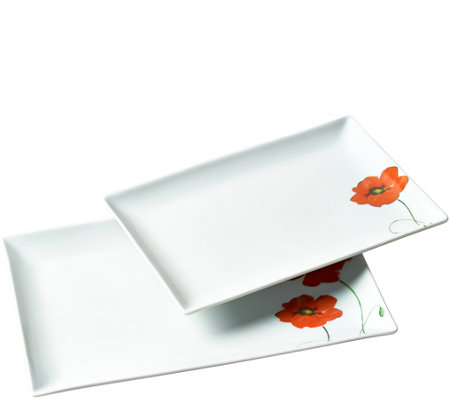 Tabletops Gallery 2-Piece Poppy Rectagular Serving Tray Set