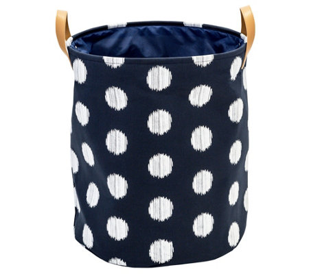 Honey-Can-Do Coastal Collection Navy and Grey Dot Laundry Bin