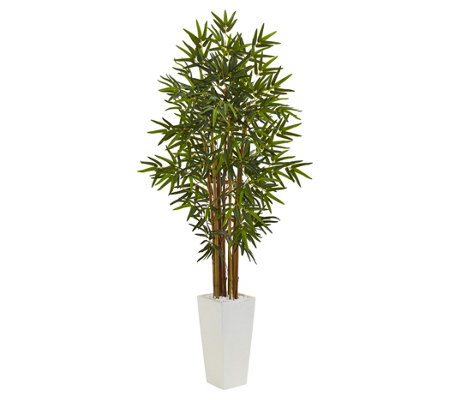 5' Bamboo Tree in White Tower Planter by NearlyNatural