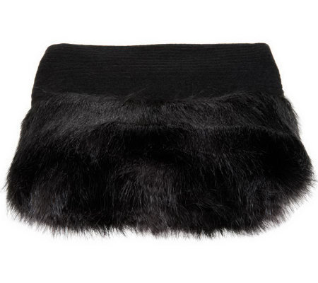Dennis Basso Faux Cashmere Throw w/ Faux Fur Trim