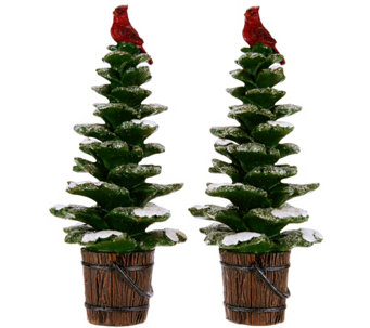 Set Of 2 9 Snowy Trees With Cardinals By Valerie H209492