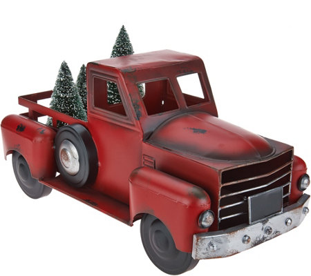 Quot As Is Quot Vintage Metal Red Truck With 3 Bottlebrush Trees