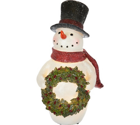 """As Is"" 15"" Illuminated Snowman Holding Holly Wreath"