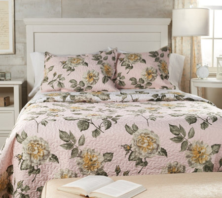3 Piece Queen Floral Quilt Set By Valerie