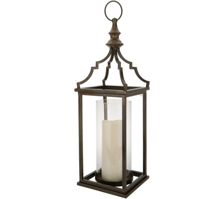 "Dennis Basso Lantern with Glass Hurricane with 7"" Candle"