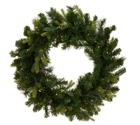 """As Is"" Bethlehem Lights Green Wreath w/2-in-1 LED Lighting"