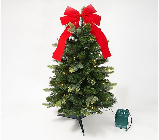 "Bethlehem Lights 30"" Green Overlit Stake Tree with Bow"