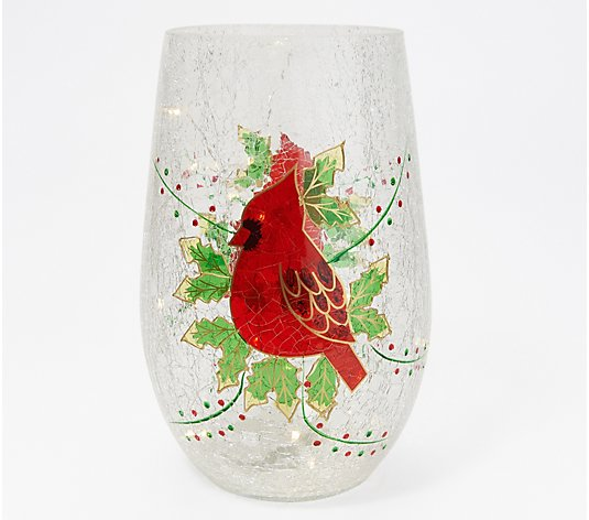 "11"" Illuminated Crackle Glass Hurricane with Holiday Motif by Valerie"