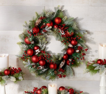 "24"" Frosted Pine and Ornament Wreath by Valerie"