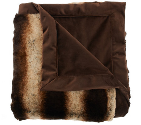 "Dennis Basso 50""x60"" Platinum Posh Faux Fur Throw"