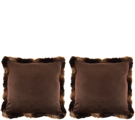 Dennis Basso Set of 2 Faux Fur Pillows with Trim