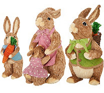3 Piece Sisal Bunny Family with Mom, Dad and Child by Valerie - H213693