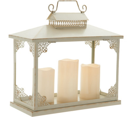 Oversized Lantern with 3 Removable Pillar Candles by Valerie