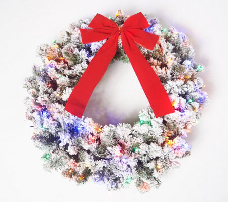 "Bethlehem Lights 26"" Flocked Overlit Wreath with Bow"