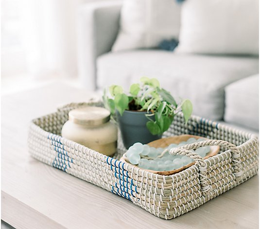 "17"" Seagrass Rectangular Tray with Handles by Lauren McBride"