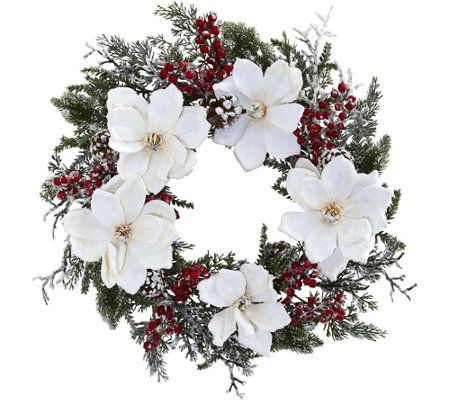 "22"" Snowed Magnolia & Berry Wreath by Nearly Natural"