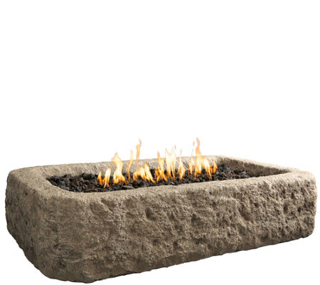 Real Flame Antique Stone Rectangle Gas Fire Table
