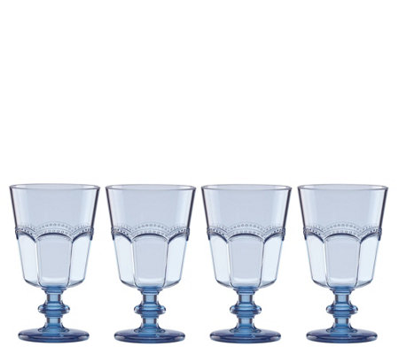 Lenox Set of 4 French Perle Blue Wine Glass Set
