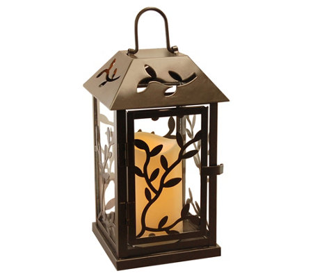 LumaBase Vine Metal Lantern with Removable Flameless Candle