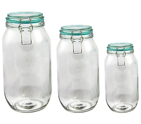 General Store Hollydale 3 Piece Glass Storage Jar Set Qvc Com