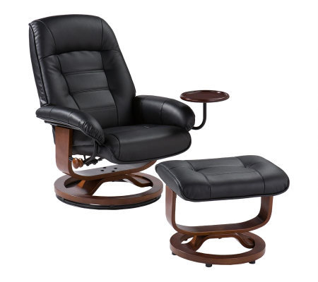 Cromwell Black Leather Recliner and Ottoman