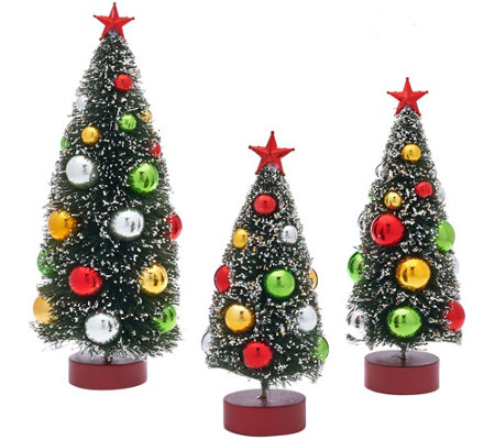 """As Is"" Set of 3 Graduated Bottle Brush Trees with Decorations"