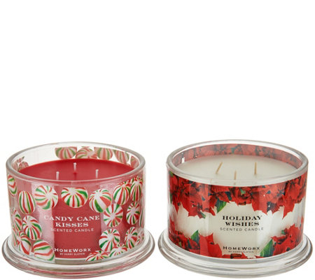 HomeWorx by Harry Slatkin S/2 Scented Deluxe 3 Wick Candles