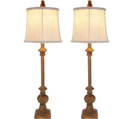 Set Of 2 Embossed Leaf Plug In Buffet Lamps By Valerie
