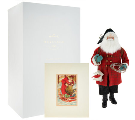 "Hallmark 19.5"" Heritage Plaid Santa with Print & Gift Box"